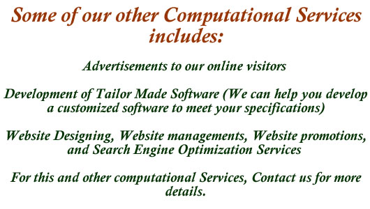 Advertisements, software developments, web site designing, and other computational services. Contact us with >> o8o 678 178 64 or admin at ufumes dot com